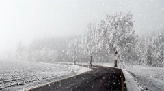 Rural winter road going in to the fog with snow, christmas scene background Stock Footage