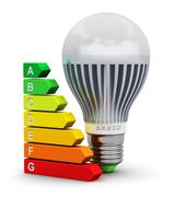 LED lamp and energy efficiency rating scale - stock illustration