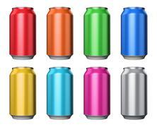 Set of color metal drink cans - stock illustration