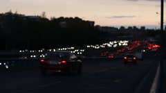 Traffic Jam On A Highway At Night, Out Of Focus Stock Footage
