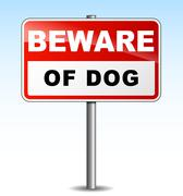 beware dog illustration - stock illustration