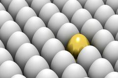 golden easter egg among similar white eggs - stock illustration