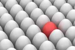red easter egg among similar white eggs - stock illustration