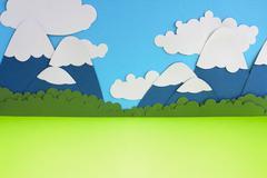 Paper mountain landscape Stock Photos