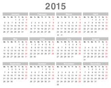 2015 year annual calendar (Monday first, English) - stock illustration