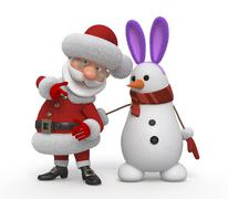 3d santa claus with a snowman - stock illustration