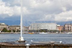 View of city of geneva, the leman lake and the water jet, in switzerland, eur Stock Photos