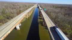 Aerial i10 louisiana atchafalaya river Stock Footage