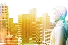 Stock Illustration of businessman looking city skyscrapers