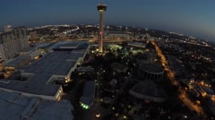 Tower of the Americas night aerial 4k San Antonio Texas - stock footage