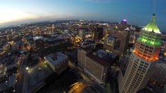 Downtown san antonio night aerial 4k Stock Footage
