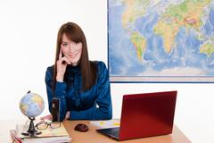 manager of a travel agency - stock photo