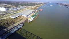 mississippi river port allen aerial 4k video - stock footage