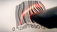 Barcode reading difficult distorted Stock Footage