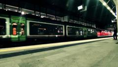 Turin, Italy, Porta Susa Railway Station, Passengers and Train. Stock Footage