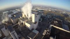 Budweiser factory steam exhaust aerial 4k Stock Footage