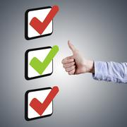 approval concept with ok graphic, business funds - stock illustration