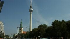 Berlin Alexanderplatz with TV tower Stock Footage