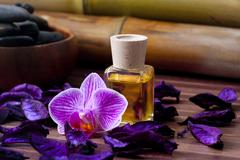 Bottle of olive oil naturally aromatic spa Stock Photos