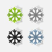 realistic design element: snowflake - stock illustration