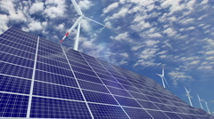 Solar panels and wind turbines Stock Footage
