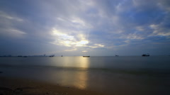 Pattaya beach on evening Stock Footage