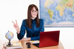 Stock Photo of cheerful employee travel agencies