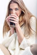 Woman with a cup of coffe Stock Photos