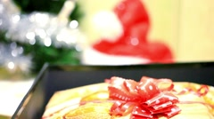 Christmas magic gift box, cap and tree. Change focus background. HD. 1920x1080 Stock Footage