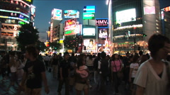 Shibuya, Tokyo Night Scene. Fashion center of Japan. Nightlife area. Consumerism Stock Footage