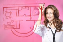 Planning, painting  female flat. - stock photo