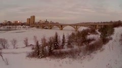 Snow and frost along the Saskatchewan river bank Stock Footage