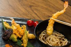 Tempura Shrimps with Vegetables - stock photo