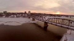 Victoria traffic bridge in Saskatoon, Snow, ice and frost. Stock Footage