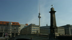 Berlin Alexanderplatz TV tower from Museumsinsel Stock Footage