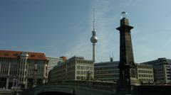 Berlin Alexanderplatz TV tower from Museumsinsel - stock footage