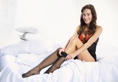 Woman found sexy pantyhose Stock Photos