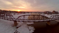 Victoria traffic bridge in Saskatoon, Snow, ice and frost. Stock Footage