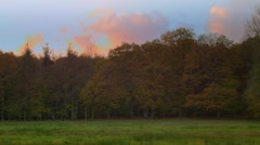 Cloudy autumn meadow timelapse Stock Footage