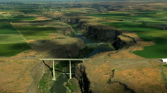 Aerial Twin Falls Idaho Bridge Snake River Canyon Highway Stock Footage
