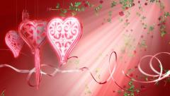 Romance background loop, red. Hearts, roses, ribbons. Valentines Day, weddings. Stock Footage