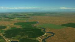 Stock Video Footage of Aerial USA Idaho farmhouse harvest grassland rural