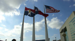 Flags in front of City Hall in Downtown Dallas Stock Footage