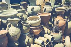 earthenware in tunisian market - stock photo