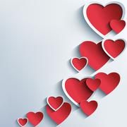Trendy abstract background with 3d hearts Stock Illustration