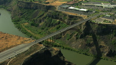 Aerials Idaho USA Twin Falls Perrine Bridge River Canyon Stock Footage