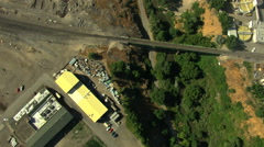 Aerial Idaho USA town road traffic home building city Stock Footage