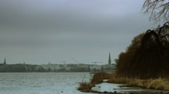 Alster pan in autumn Stock Footage