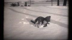 Stock Video Footage of Family estate in the depression, snow day