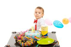Boy at first anniversary Stock Photos